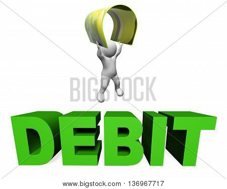 Debit Card Shows Banking Accounting And Buying 3D Rendering