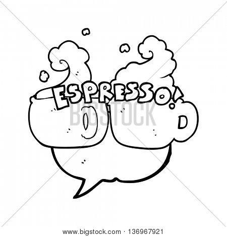 freehand drawn speech bubble cartoon espresso