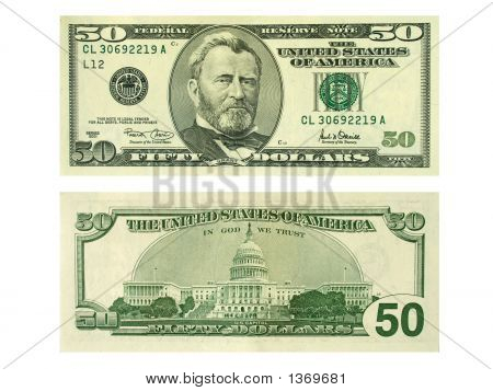 Banknote 50 Dollars Isolated On White Background