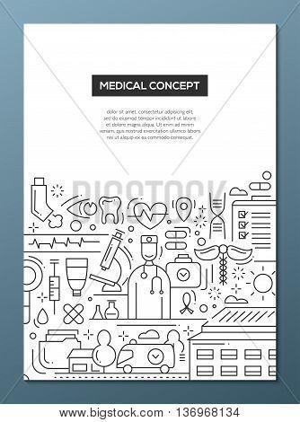 Medical Concept - vector line design brochure poster, flyer presentation template, A4 size layout
