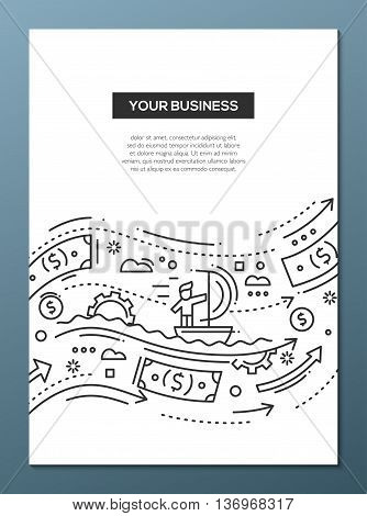 Your Business - vector line design brochure poster, flyer presentation template, A4 size layout. Successful businessman moving forward on waves