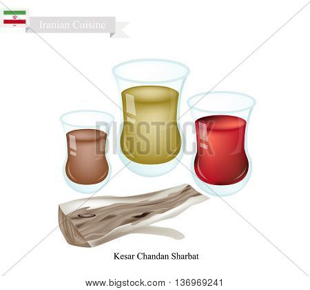 Iranian Cuisine Kesar Chandan Sharbat or Traditional Drink Made From Saffron Sandalwood and Aromatic Syrup. One of The Most Popular Drink in Iran.