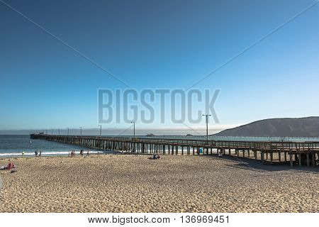 Avila Beach,California,USA - July 14, 2015 : View of the long pier in Avila Beach