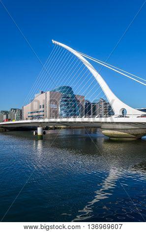 DUBLIN, IRELAND - 14 APRIL 2015: Samuel Beckett Bridge crossing the River Liffey in Dublin Ireland