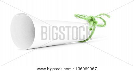 White letter tube tied with string one green knot isolated