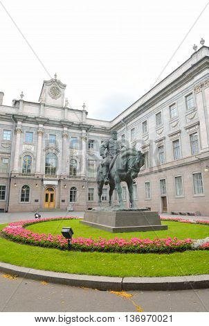Marble Palace and the statue of Emperor Alexander III in Petersburg Russia.