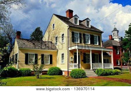 New Bern North Carolina - April 23 2016: Federal style 1795 Cutting-Allen House and 1810 New Bern Old Academy *