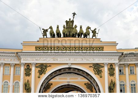 The arch of General staff on Palace Square in St. Petersburg Russia.