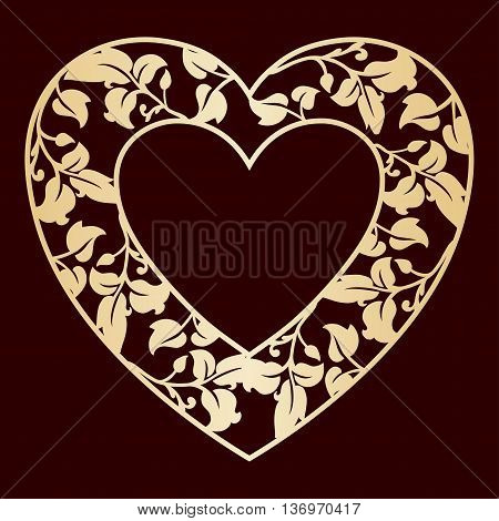 Openwork heart with leaves. Golden vector frame. Laser cutting template for greeting cards envelopes wedding invitations decorative elements.