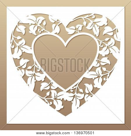 Openwork white frame with heart and leaves. Laser cutting template for greeting cards envelopes wedding invitations decorative elements.
