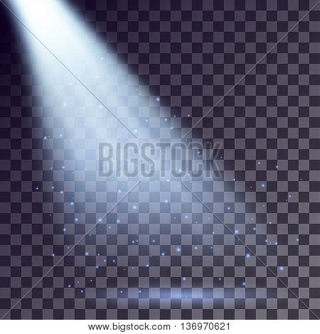 Blue rays from spotlight with shining particles on transparent background.
