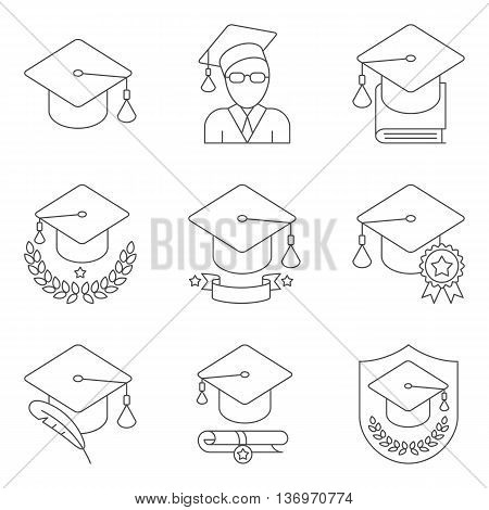 Education and school icons. Set of 9 lined vector icons
