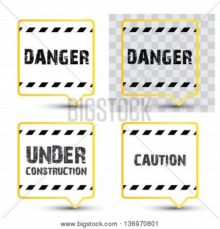 Yellow security warning tapes set Caution, Do not cross, Do not enter, Danger. For web, criminal and law design