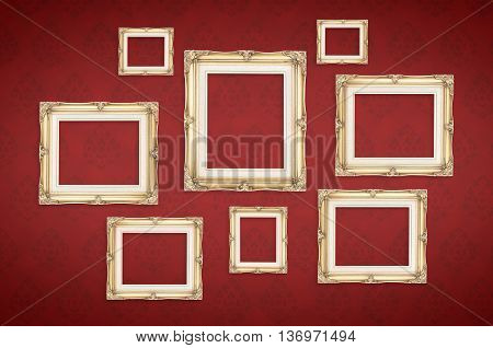 Vintage Photo Frames With Thai Pattern At Red Background,template Mock Up For Adding Your Picture