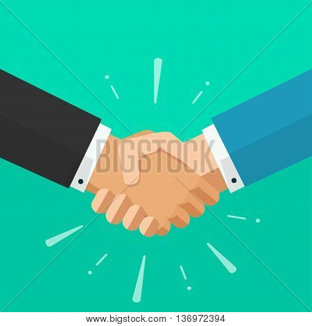 Shaking hands business vector illustration with abstract rays, symbol of success deal, happy partnership, greeting shake, handshaking agreement flat sign modern design isolated on green background