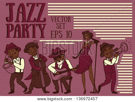 set of vector illustrations: cute doodle musicians in 1920's style, jazz or blues music band