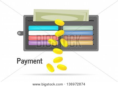 Wallet with cards and cash. Leather wallet with dollars, credit
