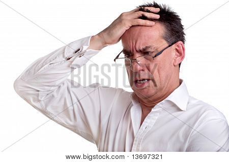 Shocked Business Man Holding Head