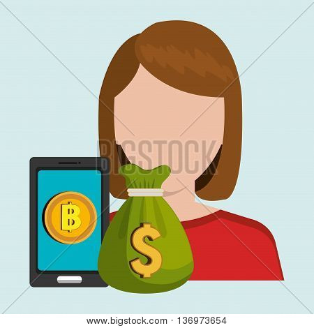 person with smartphone and coin isolated icon design, vector illustration  graphic