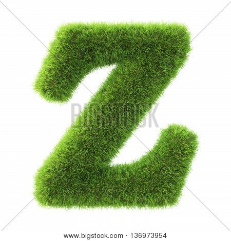 Alphabet made from green grass. isolated on white. 3D illustration.z