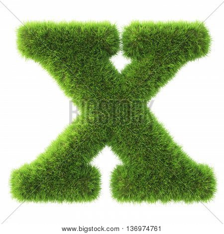 Alphabet made from green grass. isolated on white. 3D illustration.x
