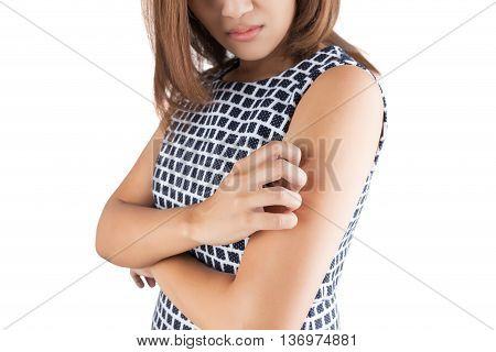 Itching In A Woman Upper arm; itching isolate on white background