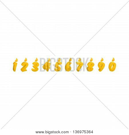 Yellow number Birthday cake candles icon in cartoon style on a white background