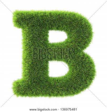 Alphabet made from green grass. isolated on white. 3D illustration.b