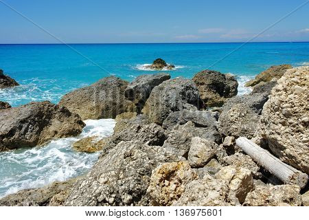 Seascape of Megali Petra Beach, Lefkada, Ionian Islands, Greece
