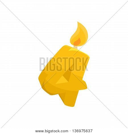 Birthday cake candle number four icon in cartoon style on a white background