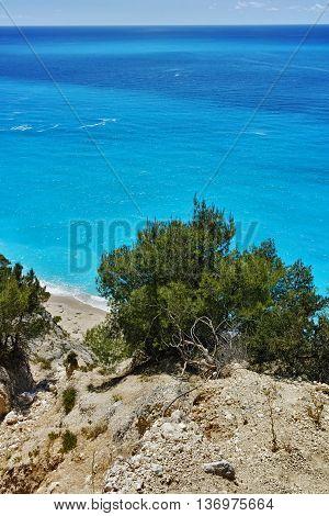 Amazing view of Gialos Beach, Lefkada, Ionian Islands, Greece