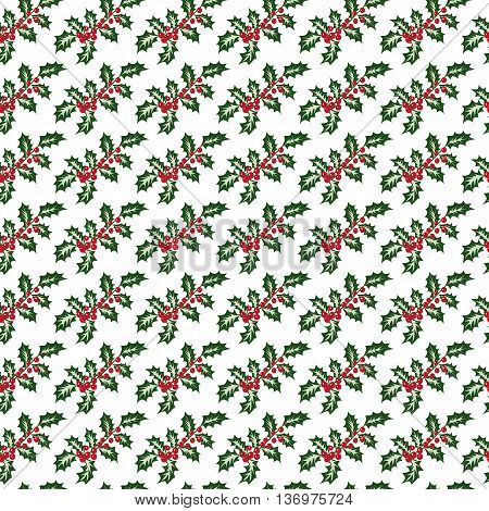 holly berries on a white background, christmas seamless pattern