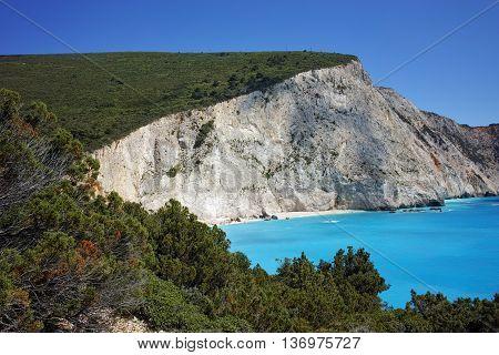 Panorama of Porto Katsiki Beach, Lefkada, Ionian Islands, Greece