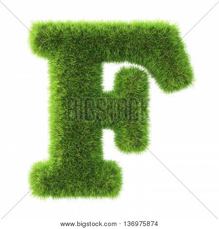 Alphabet made from green grass. isolated on white. 3D illustration.f