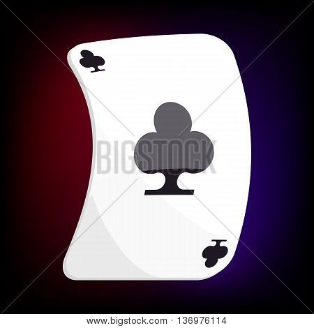Ace of clubs playing card icon in cartoon style for any design