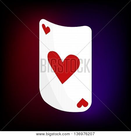 Ace of hearts card icon in cartoon style for any design
