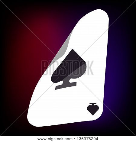 Ace of spades card icon in cartoon style for any design
