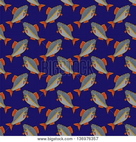 Fresh Fish Isolated on Blue Background. Seamless Fish Pattern