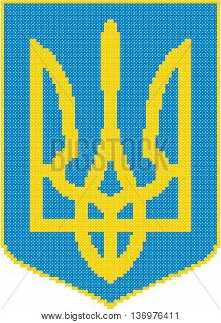 The coat of arms, trident, embroidery, Ukraine, national symbols, blue, yellow