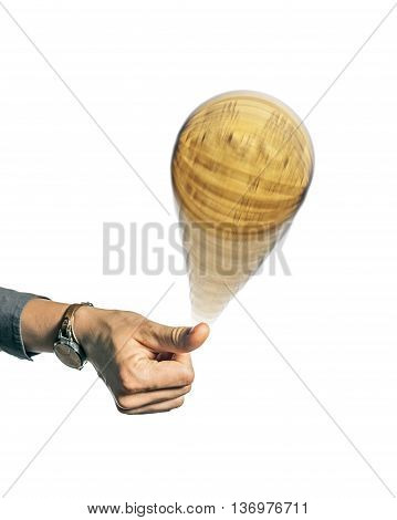 Person hand throwing up a coin to make a decision isolated on white background