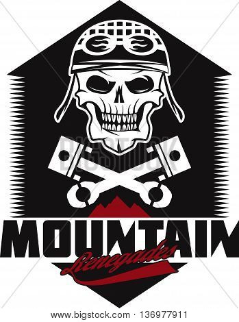 Mountain Renegades Vintage Print With Skull, Pistons Mountains