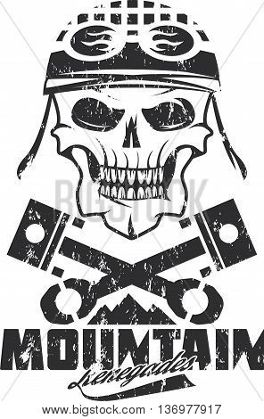 Mountain Renegades Vintage Grunge Print With Skull, Pistons Mountains