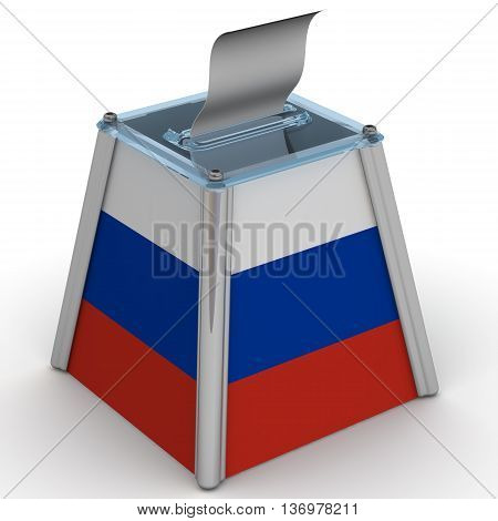 Ballot box in the colors of the flag of the Russian Federation. Ballot box to vote in the colors of the flag of the Russian Federation with ballot sheet is on the white surface. Isolated. 3D Illustration