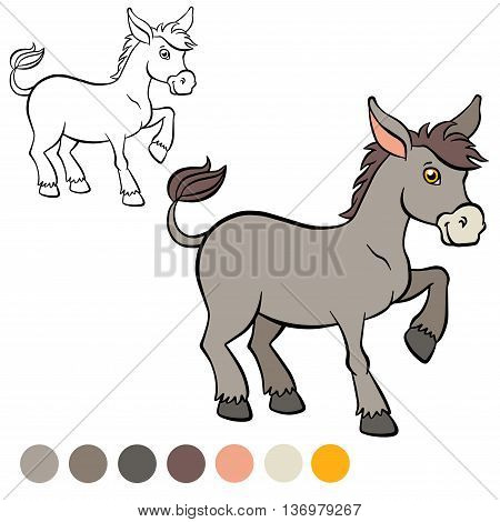 Coloring page. Color me: donkey. Little cute donkey stands and smiles.