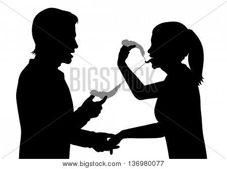 Editable vector silhouette of sensual lovers eating pizza together with figures as separate objects