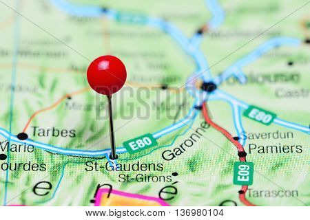 St-Gaudens pinned on a map of France