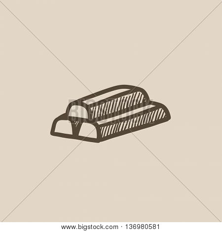 Golden bars vector sketch icon isolated on background. Hand drawn Golden bars icon. Golden bars sketch icon for infographic, website or app.