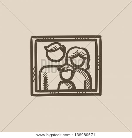 Family photo vector sketch icon isolated on background. Hand drawn Family photo icon. Family photo sketch icon for infographic, website or app.