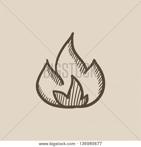 Fire vector sketch icon isolated on background. Hand drawn Fire icon. Fire sketch icon for infographic, website or app.