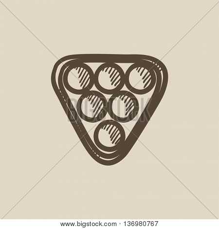 Set of billiard balls in triangle vector sketch icon isolated on background. Hand drawn Set of billiard balls in triangle icon. Set of billiard balls sketch icon for infographic, website or app.